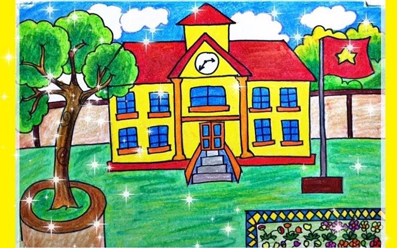 Tranh vẽ ngôi trường mơ ước của em